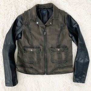 AE Faux Leather Sleeves Army Green Moto Jacket